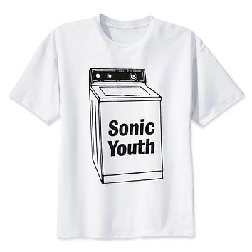 sonic youth t shirt men hip hop fashion t-shirt male white print tees