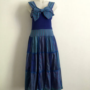 SALLY BROWNE!!! Vintage 1980s 'Sally Browne' blue mismatched plaid sundress with full patchwork skirt and front bow / Size 12 / Made in Aus