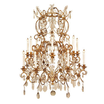Italian Mid 19th Century Louis XV st. Gilt Metal and Crystal Chandelier