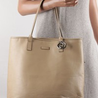 Authentic GUCCI Beige Leather SHOPPING BAG Tote Handbag