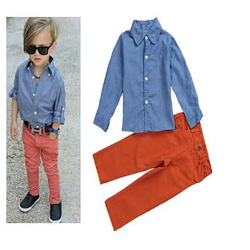 Baby boy Clothes Babies Kids Denim Tops + red Pants Costumes boys Children Clothing Set