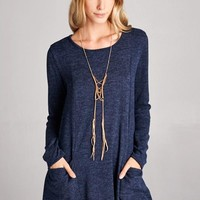 Loose Fit Long Sleeved Sweater Dress