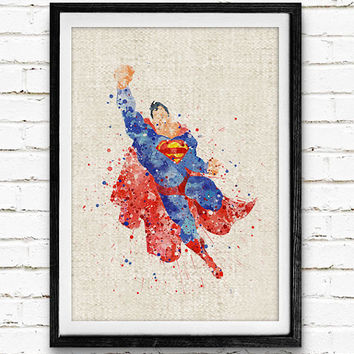 Superman Watercolor Art Print, Marvel Superhero Watercolor Poster, Boys Room Wall Art, Home Decor, Not Framed, Buy 2 Get 1 Free!