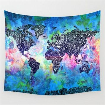 Tie-Dye Colored World Map Wall Tapestry