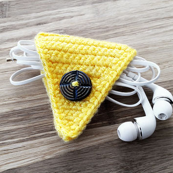 Yellow Crochet Cord Holder, Headphone Organizer, Earbud Organizer, Smartphone Accessory, Earphone Cord keeper, Headphone USB Winder