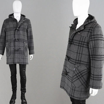 Vintage 80s BURBERRYS Grey Nova Check Mens Duffle Coat Plaid Coat British Designer Tartan Print Wool Overcoat Prorsum Toggle Coat Hooded