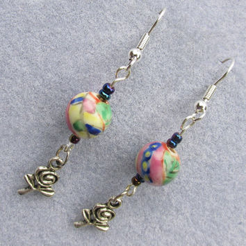 Rose Garden Earrings, Pink Yellow Green, Hand Painted Porcelain Flower Beads, Dangle Drop Earrings,Rose Charms, Sulver Plate Ear Wires, Fun