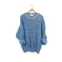 Speckled Boyfriend Sweater Oversized Slouchy Purple Blue Pullover Raglan Sweater Loose Fit Unisex Preppy Marled Crewneck Extra Large XL