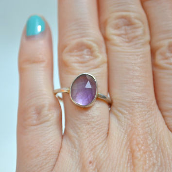 Amethyst Gemstone Ring, Gemstone Ring, Amethyst Ring, Sterling Silver Ring, Silver Ring, Sterling Ring, Amethyst, 1970s Ring, Size 8 Ring