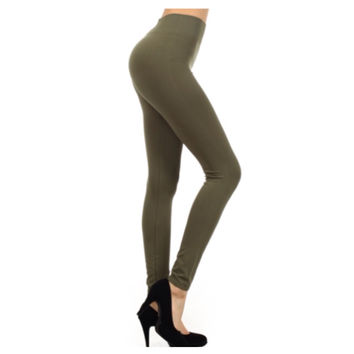 """""""A Touch of Heaven"""" No Peek-a-Boo See Through Olive Leggings"""