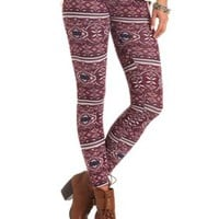 Cotton Medallion Printed Leggings by Charlotte Russe - Navy Combo