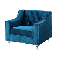 Iconic Home Dylan Silver Nailhead Trim Button Tufted Club Chair | Wayfair