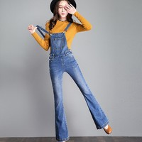 New Casual Denim Overalls Jeans Women jumpsuit Stretch Slim Denim Overalls For Women Flare Jeans s1059
