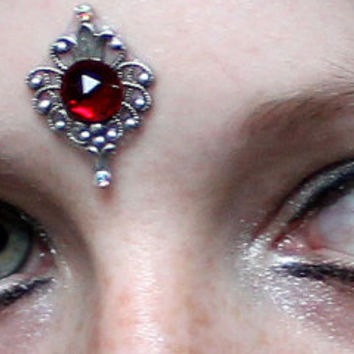 Ruby Flame Bindi, skin gem, glass, silver, bellydance, tribal fusion, fantsy, fae, gypsy, fairy, wicca, third eye, red, pagan, facial jewel