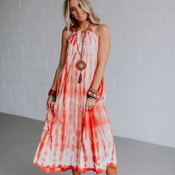 Amelia Tie Dye Halter Maxi Dress - Crimson
