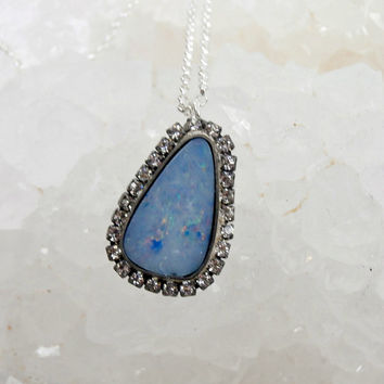 Opal Necklace, Australian Black Opal Gem Slice, Pave Diamond Look, Beach Wedding Choker, Mineral Jewelry Raw Gemstone