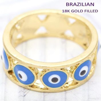 Gold Layered Women Greek Eye Elegant Ring, by Folks Jewelry