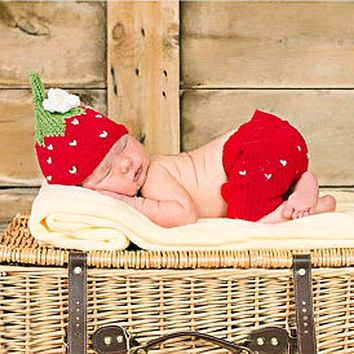 Newborn Photography Props Accessories Baby Hat Toddler Girls Boys Costume Knitted Cap Bow Handmade Crochet Outfits