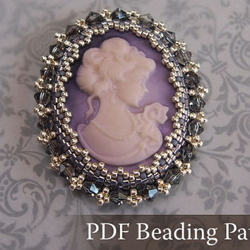 Beading Tutorial Cameo Cabochon Brooch, Beading pattern with Swarovski Crystal and delica beads - beaded cabochon pattern, PDF