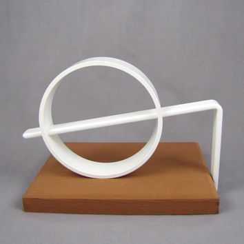 Line & Circle - Vintage Danish Modern Bookend, Sliding Adjustable White Ring Bracket by Vilsboll Design / Midan, New in Box