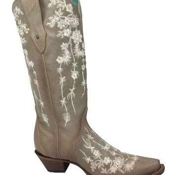 ONETOW Corral Bone Embroidery & Swarovski Snip Toe Boots