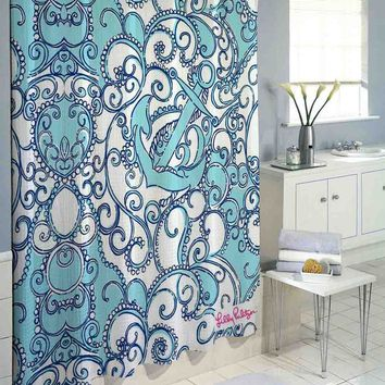 "Blue Anchor Lilly Pulitzer High Quality Custom Shower Curtain 60""x72"" & 66""x72"""