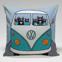 cute cat drive volkswagen Square Pillow Case Custom Zippered Pillow Case one side and two side