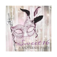 Pink Black White Sweet 16 Masquerade Party Announcements from Zazzle.com