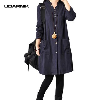 Women Cotton Linen Shirt Dress V-neck Button Pocket Loose Knee-Length Dresses Long Sleeve Ethnic Vintage 045-945
