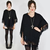 vtg 90s 70s grunge goth gypsy boho black nubby BOUCLE FRINGE knit sweater PONCHO shawl cape top S M L