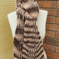 Scarf with Pockets, Extra Long Scarf, Unisex Scarf With Pockets, Striped Scarf, Scarf with Pockets in Brown and Beige, Knitt Scarf