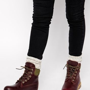 "Timberland 6"" Premium Burgundy Lace Up Flat Boot"