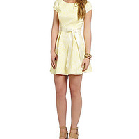 Teeze Me Cap Sleeve Jacquard Party Dress - Yellow