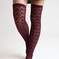 Deep Red Knee High Boot Socks