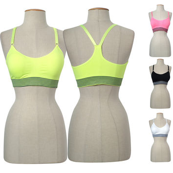 Seamless H-Back Striped Adjustable Strap Fitness Yoga Padded Workout Sports Bra