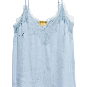 Strappy satin top with lace - Light blue - Ladies | H&M GB