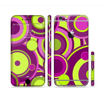The Purple and Green Layered Vector Circles Sectioned Skin Series for the Apple iPhone 6/6s Plus