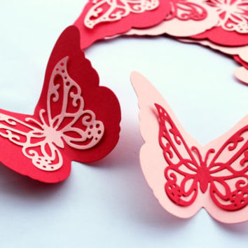 Angle Butterflies,Red and Pink Butterflies,Die cut butterflies,Paper Butterflies,Baby shower,Wedding butterflies