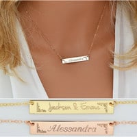 Gold Bar Necklace, Personalized Bar Necklace, Engraved Name necklace Bar, Monogram Bar Gold, Name necklace, Initial Necklace, 6x40