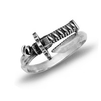 Vintage Katana Sword 925 Sterling Silver Adjustable Ring