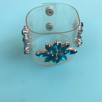 clear with blue crystal jelly cuff