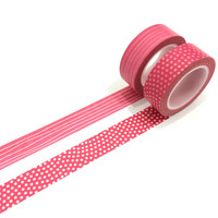 Washi tape set: Pinkalicious ppolkadots and squiggle horizontal lines. / Pink washi tape / gift wrap/ mother's day / valentine