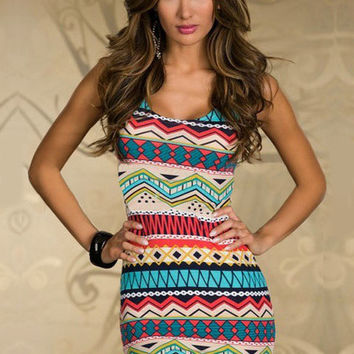 Red Tribal Print Sleeveless Cut-Out Back Bodycon Mini Dress