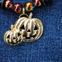 Halloween pumpkin necklace; upcycled jewelry; autumn necklace; fall theme necklace; golden pumpkin necklace; Christmas in July 2015