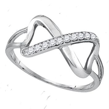 Sterling Silver Womens Round Diamond Infinity Fashion Band Ring 1/10 Cttw - FREE Shipping (US/CAN)