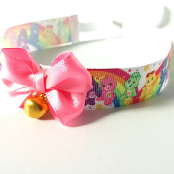 The CARE BEARS choker collar, DDLG, daddy's girl collar, bear choker, bear collar, kitten play, kitten choker, kitten collar, ddlg choker