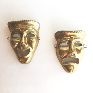 Vintage Brass Comedy and Tragedy Masks, Brass Theatre Face Masks