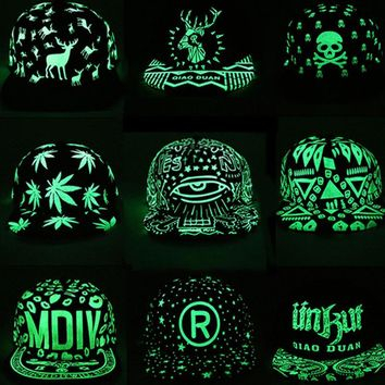 Graffiti Hip Hop Baseball Cap Fluorescent Light Snapback Cap Men Cap Casquette Women Hats Noctilucence Snapback Hats Bone