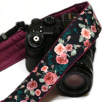 Roses Camera Strap. Purple Camera Strap DSLR Camera Strap. Canon Camera Strap. Women Accessories