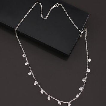 fashion womens unique silver crystal necklace gift 77